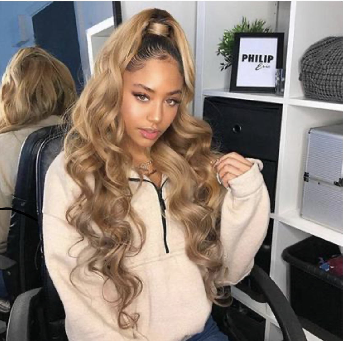 360 Lace wig Pre plucked body wave with babyhair brown mixed gold